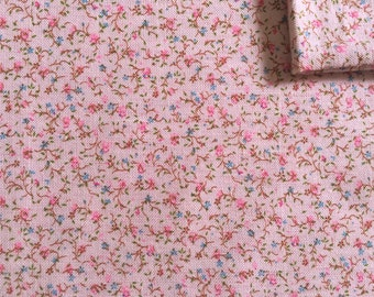 Vintage Fabric 70's Pink, Floral Cotton, Material, Textiles (1 yard)