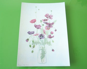 Flower Postcard Vintage Greeting Card Purple Poppies Flower Bouquet
