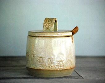 ceramic sugar bowl with lid, rustic sugar jar , farmhouse pottery,Pottery sugar bowl, Ceramics & pottery