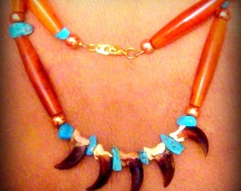 SHAMAN Claw necklace, Native American handcrafted claw and Ram horn necklace, tribal necklace, southwestern, Cherokee, Choctaw hand made