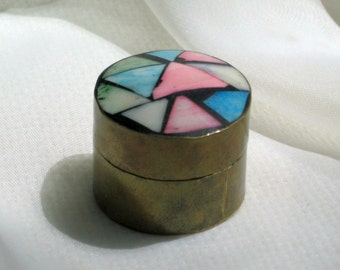 Pill Box Trinket Holder Vintage 70s Collectible Brass Glass Wood Made in India