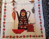 Unused Vintage Kay Dee Tea Towel Coffee Pot & Grinder