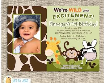 Jungle Safari Giraffe, Monkey, Zebra Theme Birthday Party Invitation, JPG Printable or Printed Birthday Invitation