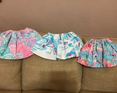 Lilly Pulitzer inspired girls skirts sizes 12m 18m 24m 3t 4t 5t 6 7 8 Tusk in Sun, Oh Shello, Peel and Eat Flamingos, First Impressions
