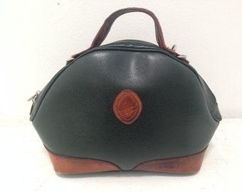 Doctors Bag Purse Hunter Green Leather Vintage