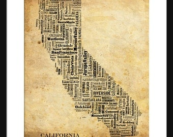 California Typography Grunge Map Poster Print Typographical Map Title