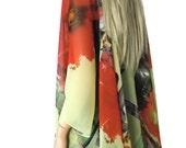 Boho Kimono cardigan -yellow floral chiffon with bold red flowers-Chiffon kimono--Ruana-Many colors