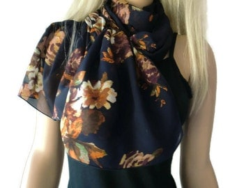 Dark Navy blue with copper brown floral long chiffon scarf -Parisian Neck Tissu
