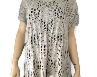 Classy Taupe  summer sweater with dropped shoulders and fancy stitching-Must have for coming months