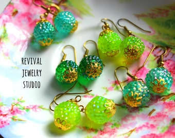 Adorable Green Beaded Earrings - Gumdrop Earrings - Bright Colorful Earrings
