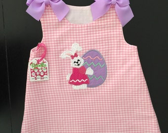 Gingham A-Line Jumper with Easter Bunny Applique and Monogram 6M 12M 2T 3T 4T 5T