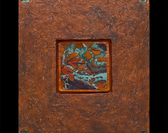 PAINTING  MIXED MEDIA / Jewels From Within / Small  Patina Blue /  Copper Wall Art /  Handmade Paper by Kara Young