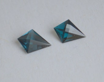 Madagascan Matched Pair of Blue Spinel 8x6mm Kite Shape