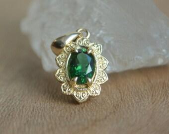 Gold Flower Pendant, yellow gold flower necklace, sunflower pendant, petal pendant, tourmaline gemstone pendant, green gemstone necklace