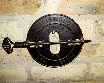 "A nice old piece of American ""Industrial Art"".   Griswold Co. of  Erie PA, USA. 7"" Furnace Damper. Vintage Reversible Steel Spindle"
