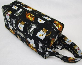 Cute Cats embroidery inside Cosmetic Bag Makeup Bag LARGE