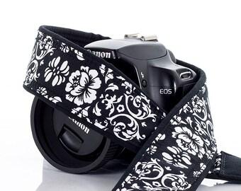 dSLR Camera Strap, Black & White Floral Damask,Camera Neck Strap, Pocket, Canon or Nikon Strap, SLR, 21 ww