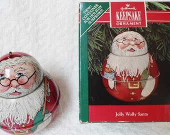 Vintage 1991 Hallmark Keepsake Jolly Wolly Santa Pressed Tin Ornament