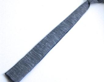 60's Vintage SKINNY Tie.  Square edge.  Grey.  Mod, Eames era, Mad Men, Beatles, Rockabilly