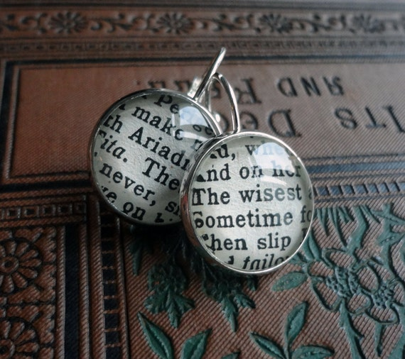 Book Jewelry, Shakespeare Bronze Earrings, English Literature, Graduation or Teacher Gift Idea