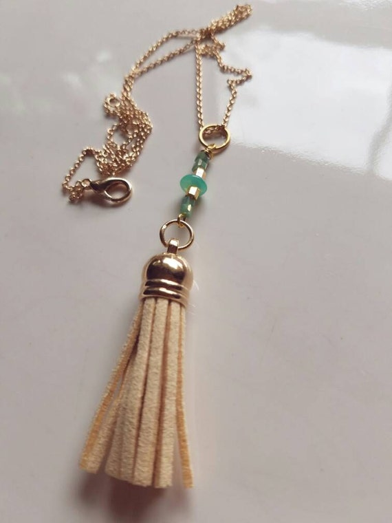 Tassel Necklace, Leather Tassel Necklace, Boho Necklace, Gold Tassel Necklace, Gift for Her, Minimalist Necklace, Boho Tassel Necklace