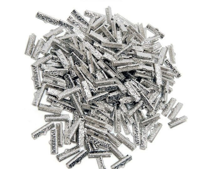 500 pieces - 22mm or 7/8 inch Platinum Silver Ribbon Clamps - Artisan Series