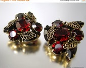 Love Yourself Sale Kramer of New York Ruby Red Rhinestone Earrings with Gold Filigree Leaves