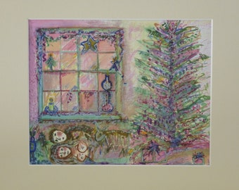 P I N K Christmas ~ a Watercolor Print signed by the Artist ~June Moon of Poppy Cottage Christmas Art