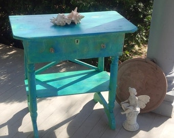Beach Cottage Bedside Accent Table Gypsy Vintage Accent Table Poppy Cottage Painted Furniture