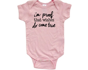 Apericots I'm Proof That Wishes Do Come True Short Sleeve Baby Bodysuit