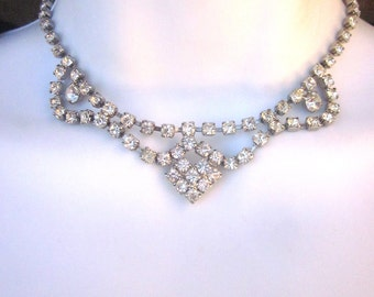Vintage Rhinestone Necklace Formal Wedding Prom Jewelry