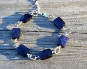 Indigo blue goldstone and sterling silver bracelet, goldstone jewelry