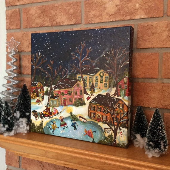 Primitive folk art painting Colonial Christmas village horse and sleigh original painting by self-taught artist Sharon Eyres