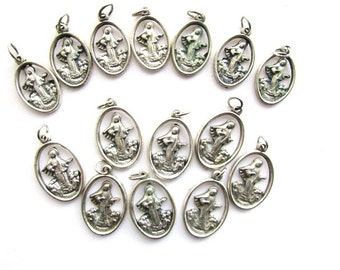 Mary Miraculous Medal Medjugorje Lot Catholic Religious Silver Tone Vintage Saints Medals