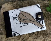 Horizontal Moleskine cover in black and white with birds. Refillable journal cover made of cotton fabric and recycled leather flap