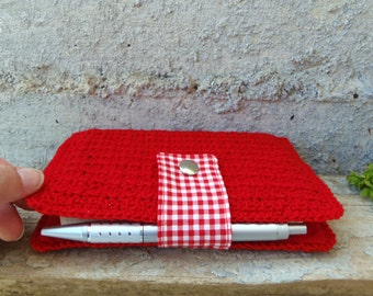 Crocheted Moleskine cover in red cotton with gingham flap. Red Moleskine cover pocket size rustic and romantic