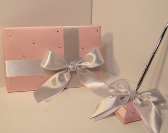 Wedding Guest Book and pen holder set Blush Pink and Silver -made to order ,Custom Made