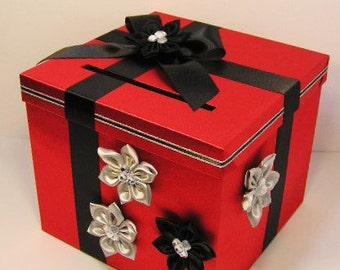 Wedding  Card Box Red /Black and Silver Gift Card Box Money Box Holder.-Customize your color