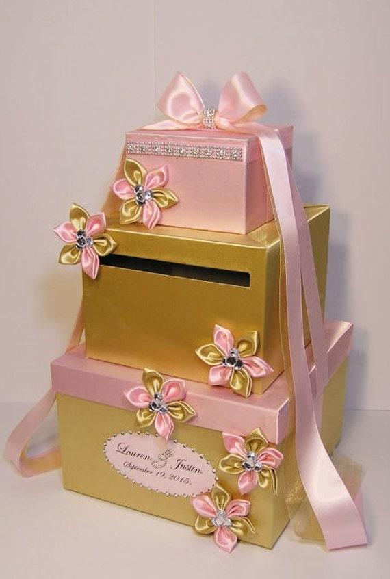 Wedding Gift Card Box Gold : Wedding Card Box Light Pink and Gold Gift Card Box Money Box Holder ...