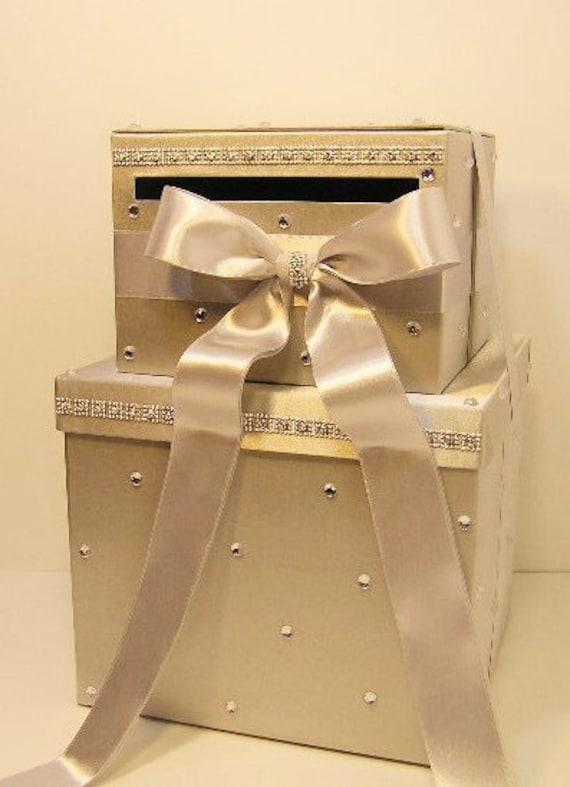 Large Wedding Gift Card Box : Wedding Card Box LARGE Size 2 Tier Silver Gift Card Box Money Box ...