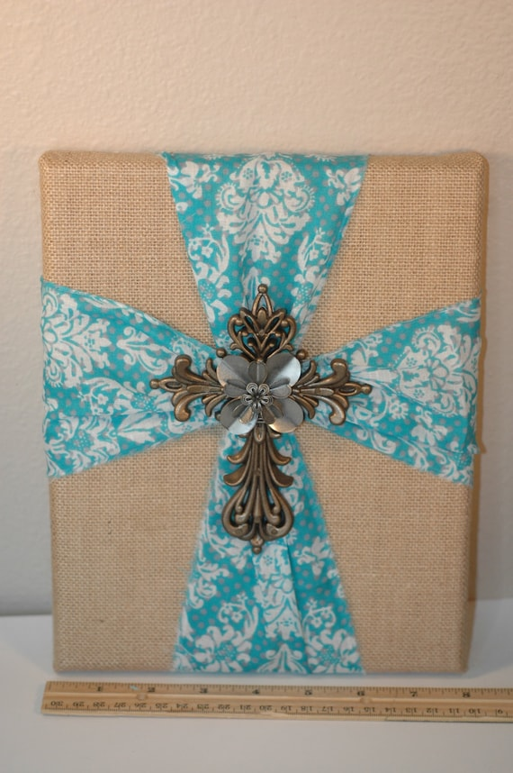 8 X 10 Cross Burlap Canvas Wall Decor