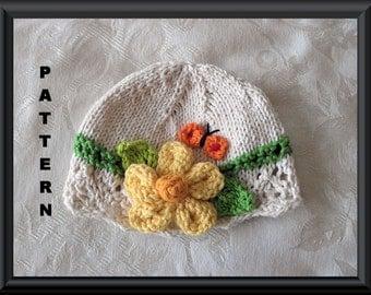 Knitted Hat Pattern Baby Hat Pattern Newborn Hat Pattern Infant Hat Pattern Flower Baby Hat Pattern Spring Hat Pattern: BUTTERFLY