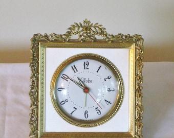 Vintage Gold Filigree Vanity Clock, Girls Ladies Mid Century Bed Side Table Clock, SOLD AS IS