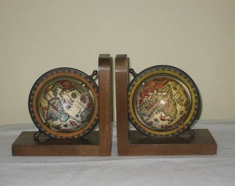 Pair of Vintage World Globe Bookends, Japan Sticker