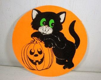 Vintage Halloween Die Cut, Black Flocked Cat, Green Eyes, Pumpkin, Wall Decor, Orange, Small, Round Decoration  (861-15)