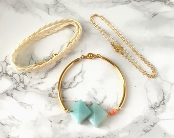 Amazonite Convertible Curved Gold Rod and Bracelet Set