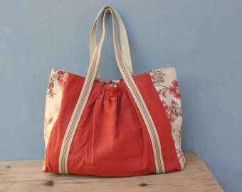 Large Linen Tote, Carryall, Burnt Terra Orange Linen, Vintage Floral Canvas