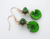 Lily Pad earrings, lilypad earrings, lotus flower earrings, lotus blossom,  bronze earrings, waterlily earrings, water lily earrings