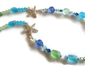 Recycled Glass Necklace. Tumbled Glass Necklace. Sea. Glass Necklace. Beach Jewelry