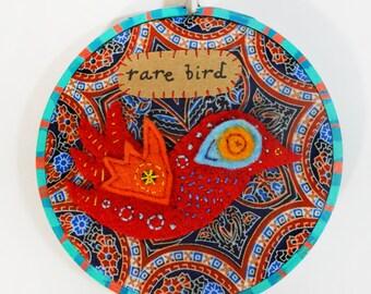 Rare Bird Embroidery Hoop Art bird-themed mixed media wall hanging in hand painted wood hoop